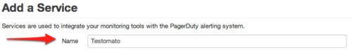 pagerduty add service name